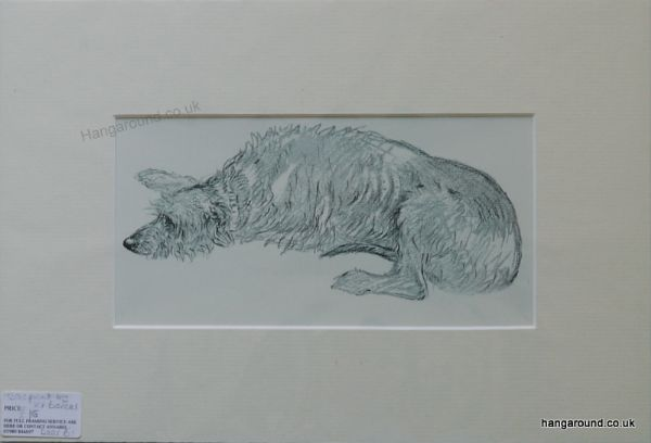 Deer Hound lying down - Deer B1 - 1930's print by K F Barker